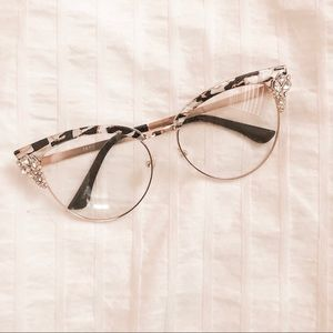 Clear Retro Rhinestone Glasses